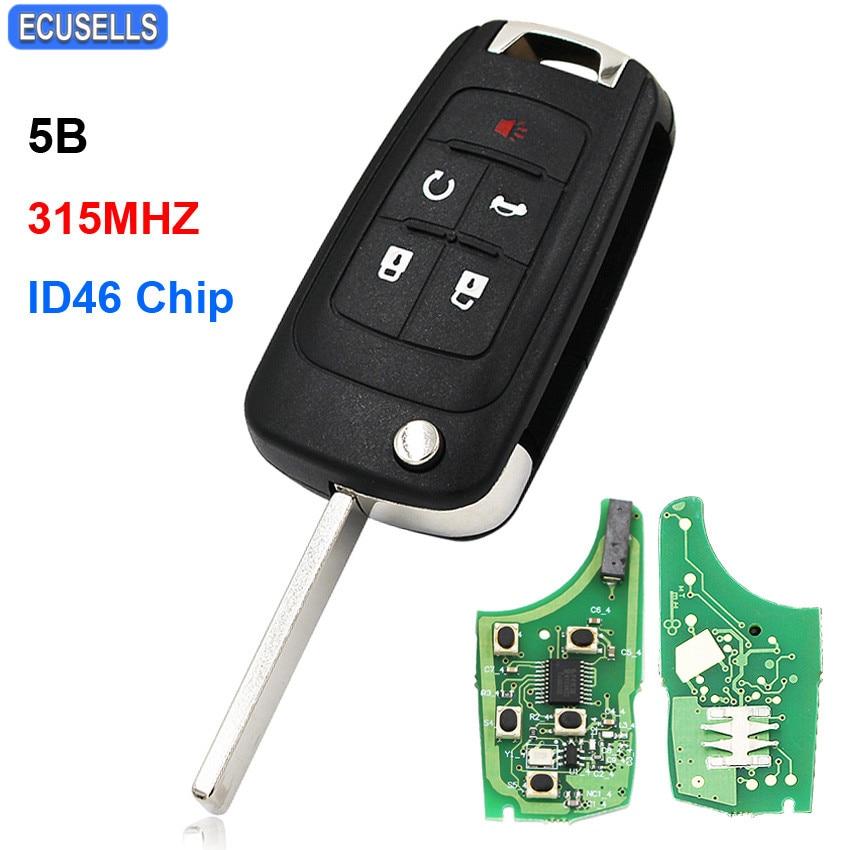 5 Knop Vouwen Smart Remote Key 315 Mhz Id46 Chip Ongecensureerd Blade Voor Chevrolet Equinox Cruze Camaro Impala Malibu Sonic Volt Vonk Een Grote Verscheidenheid Aan Modellen