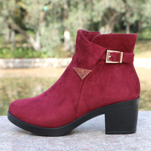 XQ Fashion Women Warm Boots High Heels Winter Snow Boots  Anti-skid Side Zipper Female Boots Brown Square Heel Ladies Shoes W005