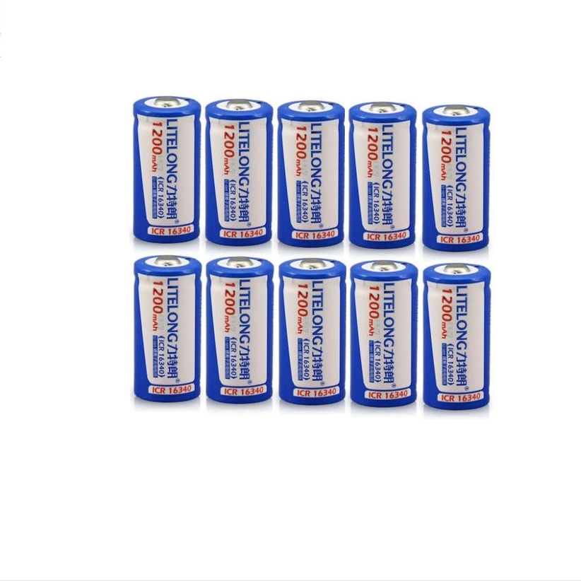 10PCS 3 7V 1200mAh CR 123 16340 Rechargeable Battery Protected Lithium Ion Rechargeable Lithium Battery