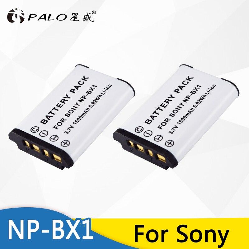 PALO 2 piezas NP-BX1 Paquete de batería para cámara SONY DSC-RX100 RX1 HDR-AS15 AS10 HX300 WX300 NPBX1 NP BX1 BC-CSXB Cámara batería NPBX1