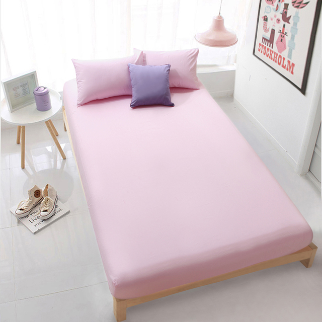 HOT Cotton Solid Bed Sheet Pink Fitted Sheet Bedding Sheets 150x200 Deep  30cm Twin Full Queen