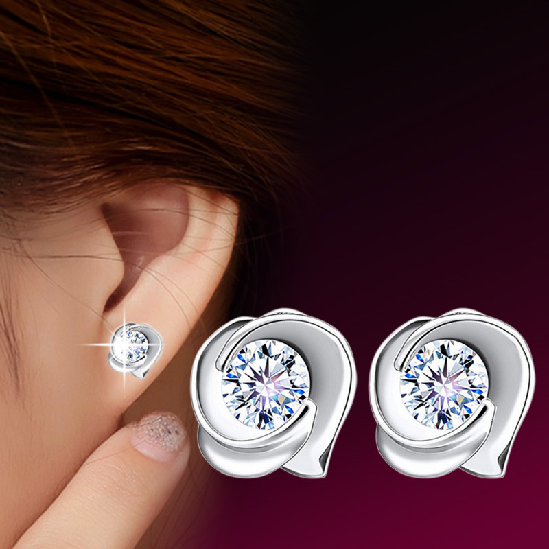 Ear Jewelry Temperament Female Korean Rose Flower Earrings with Crystal for Women Girl Lady Ear Acessories
