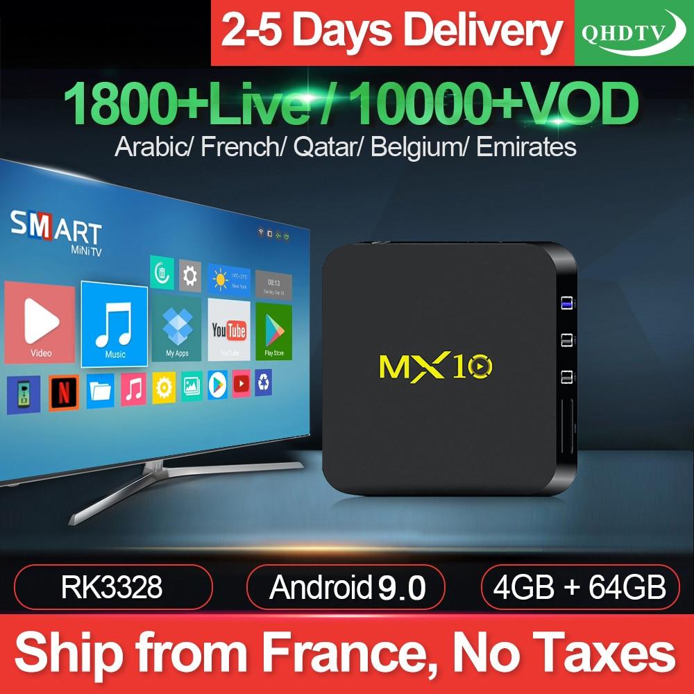 MX10 QHDTV IPTV Abonnement Box Android 9.0 4G 64G USB3.0 RK3328 mit QHDTV 1 Jahr Code Arabisch Frankreich Belgien niederlande IP TV-in Digitalempfänger aus Verbraucherelektronik bei  Gruppe 1