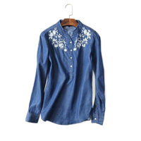 Women Fashion Embroidery Denim Long Sleeved Shirt Female Casual V Neck Light Blue Jeans Blouses Cotton