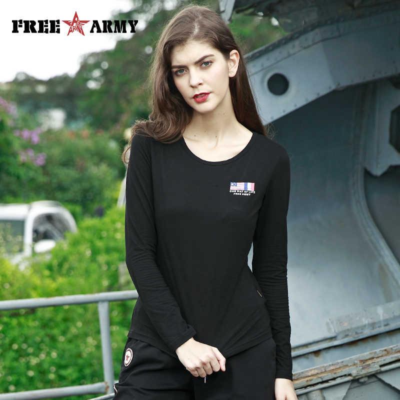 FreeArmy Mulheres T-Shirt de Manga Comprida Top Estilo Americano Mulheres Camo Camisetas 4 Cores T-shirt Das Meninas T-shirt Tops Casuais T-Shirt Feminina