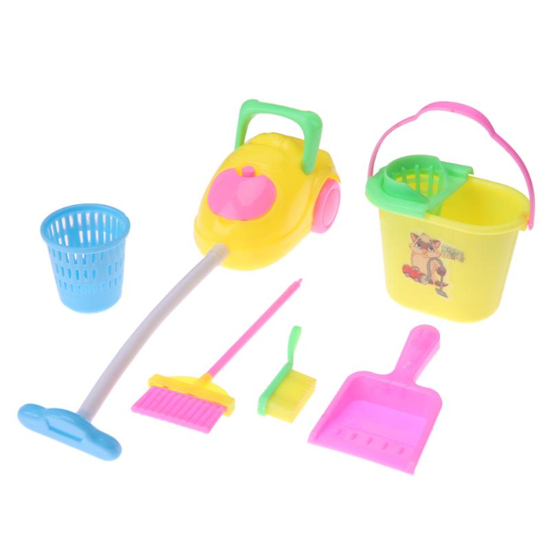 Dolls High-grade Cleaning Kit for Girl Barbie Dolls Household cleaning tools for barbie dolls Kids gils gift toys (1 Set=6 pcs)