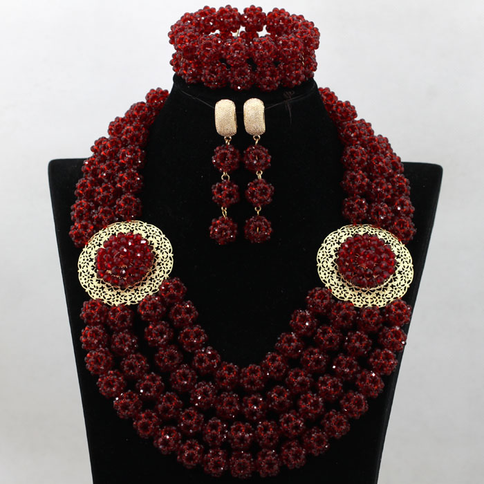 2017 Latest African Costume Jewelry Set Wine Red Crystal Bridal Statement Necklace Wedding Bridal Beads Set Free Shipping QW079 hot red statement choker necklace african wedding beads for women set dubai costume bridal lace jewelry set free shipping abf550