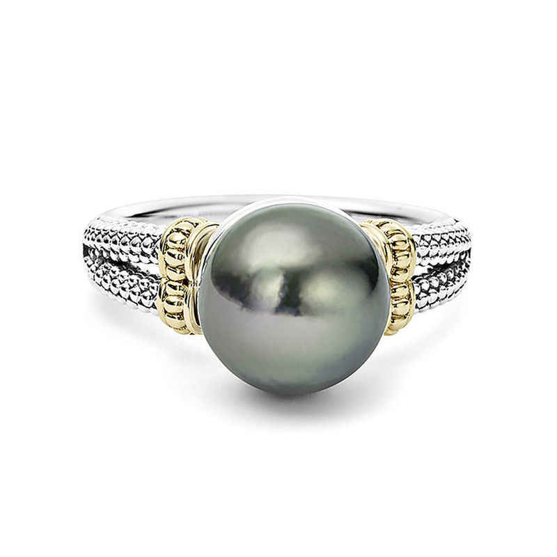 Double Fair Elegant Style Perfect Round Gray Imitation Pearls White Gold Color Engagement Rings For Women Fashion Jewelry KBR431