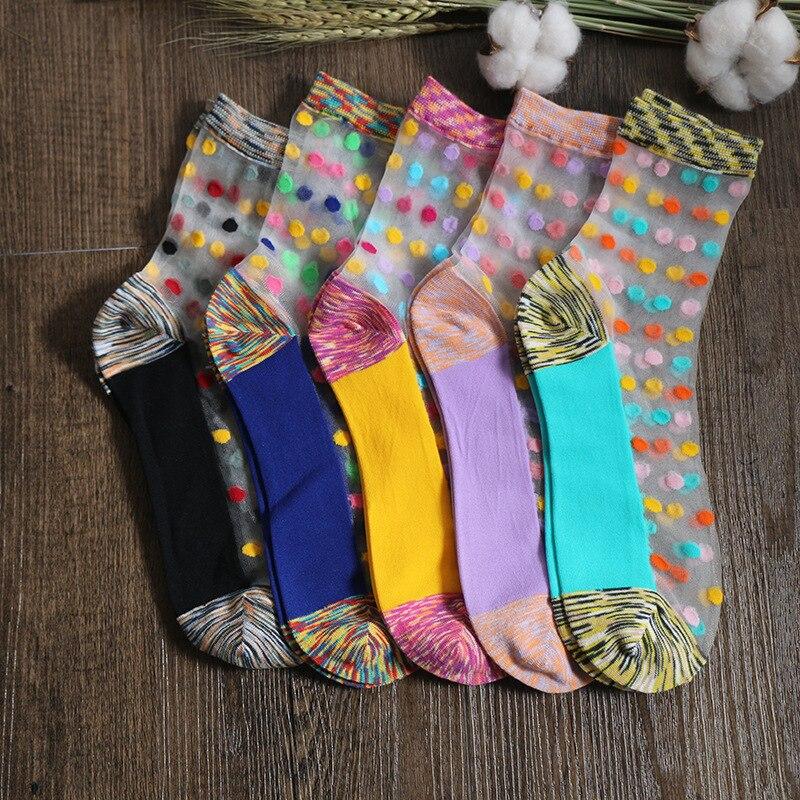 New Nation Style Laddy Socks Glass Silk Stretch Transparent Crystal Socks Women Socks Silk Socks Multicolur Dot Calcetines Mujer