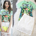 Brand Stylish Women Skirt Suits Vintage Green Printed Diamond T Shirts and White Lace Skirts Female Twinset Suits