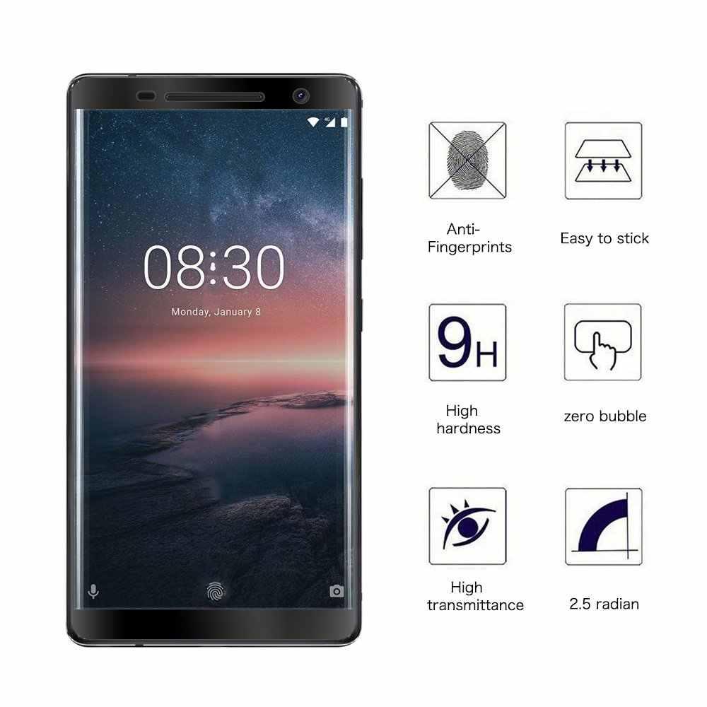 2 piezas 3D la cubierta de vidrio templado para Nokia 8 7 6 5 3 2 Protector de pantalla para Nokia X5 x6 3,1, 2,1 de 6,1 más de 5,1 película protectora