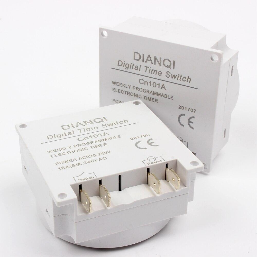 CN101A 220V 230V 240V LCD Digital, temporizador de potencia semanal, 7 días, interruptor de tiempo programable, temporizador de relé 10A CN101, minireloj de luz