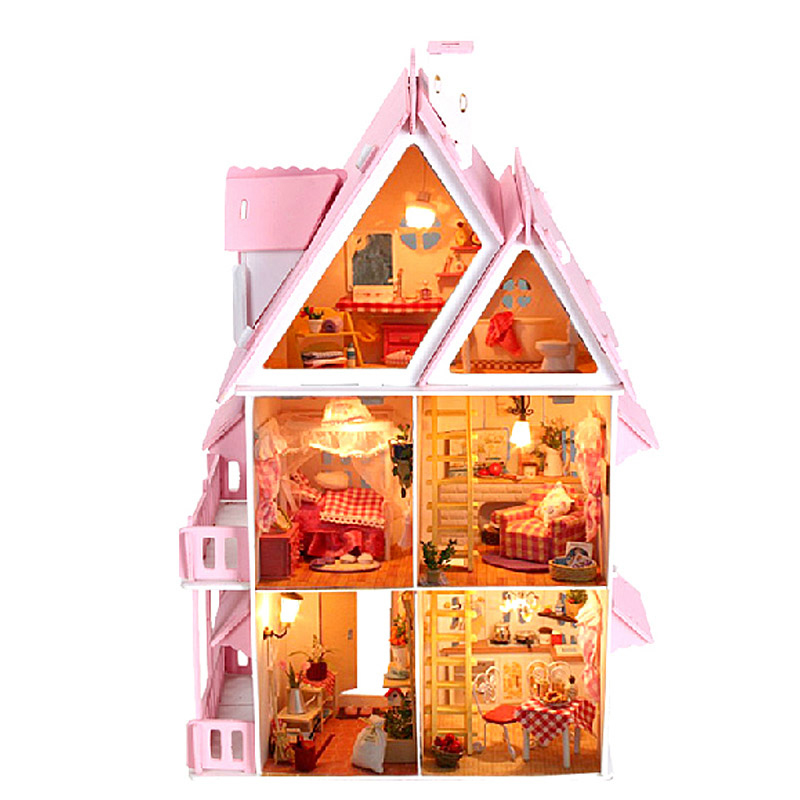 DIY Doll house Kit Miniature Doll House Furniture Model Wooden Doll House Big Size House Toy