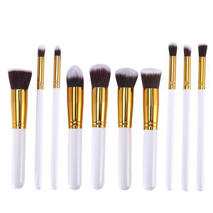 Image 5 - 10 peças prata/ouro maquiagem escova ferramentas de maquiagem sombra escova fundação pincel blush & maquiagem pincel maquiagem ferramentas