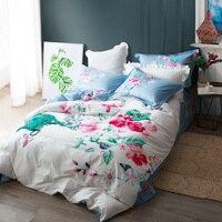 Blumen Blätter und Schmetterling Weiß Blau Bettwäsche Set Königin König Größe Bettbezüge Bettwäsche 100% Baumwolle Gedruckt Schlafzimmer Setzt