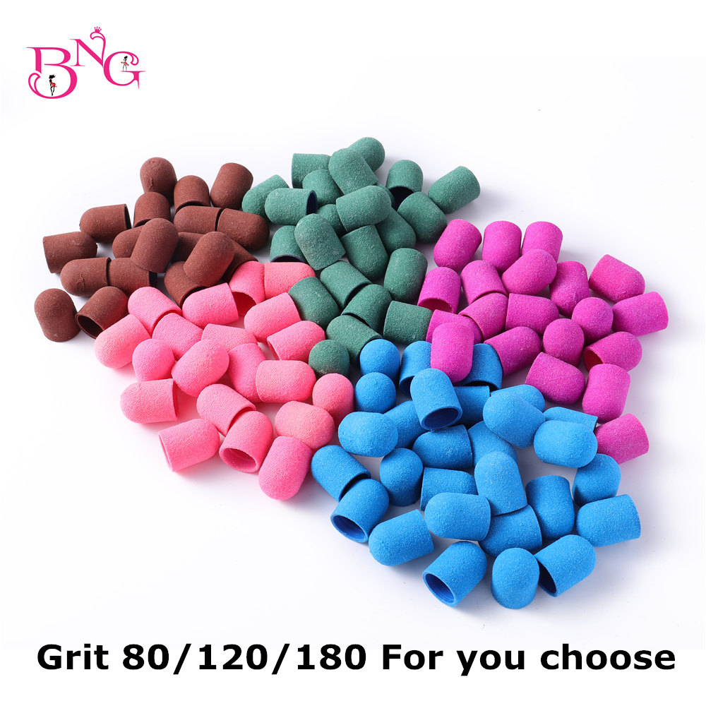BNG 20pcs 13*19mm Sanding Block Caps Professional Pedicure Foot Care Tool Purple Green Sanding Band Electric Nail Art 80/120/180