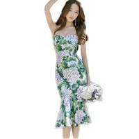 New Summer Strapless Dresses 2017 European Green Hydrangeas Printed Mid Calf Mermaid Dress