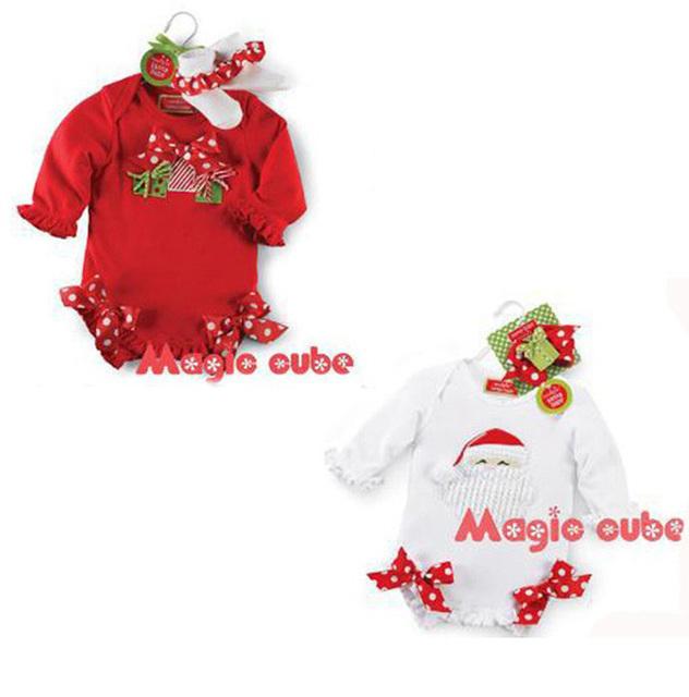 Bebé macacão 2016 verão polka dot meninas do bebê roupa de papai noel presentes de natal de alta qualidade bow newborn romper jumpsuit