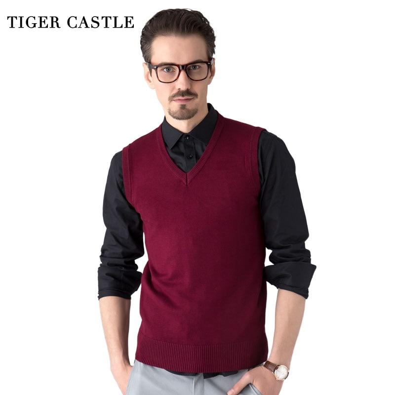 TIGER CASTLE Men Sleeveless Sweater Vest Classic Slim Business Men's Knitted Sweater Autumn Winter Brand Male Sweater