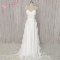 SuperKimJo Vestidos De Novia Chiffon Beach Wedding Dress Beach Cheap A Line Bridal Dresses Lace