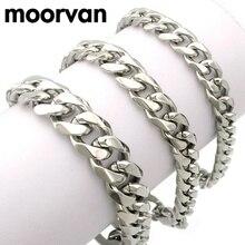 Moorvan ювелирные изделия мужской браслет кубинский ссылки и цепи браслет из нержавеющей стали для браслет мужской аксессуар оптовая продажа B284