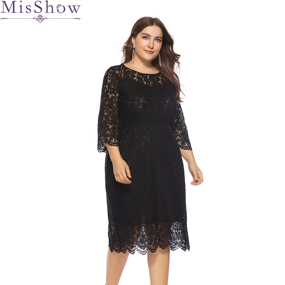 MisShow black   cocktail     dress   plus size 3/4 Sleeve Short Formal party   dress   Cheap knee length elegant fashion   cocktail     dresses
