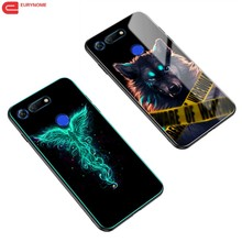 Case for Huawei Honor V30 V20 View 30 20 Case Tempered Glass Luminous Shockproof Cover for Huawei Honor 10 Lite 8 lite Play 3 aurora luminous phone case for huawei honor view v30 v20 v10 night shine bcak cover for honor v30 dazzle colour glass case coque