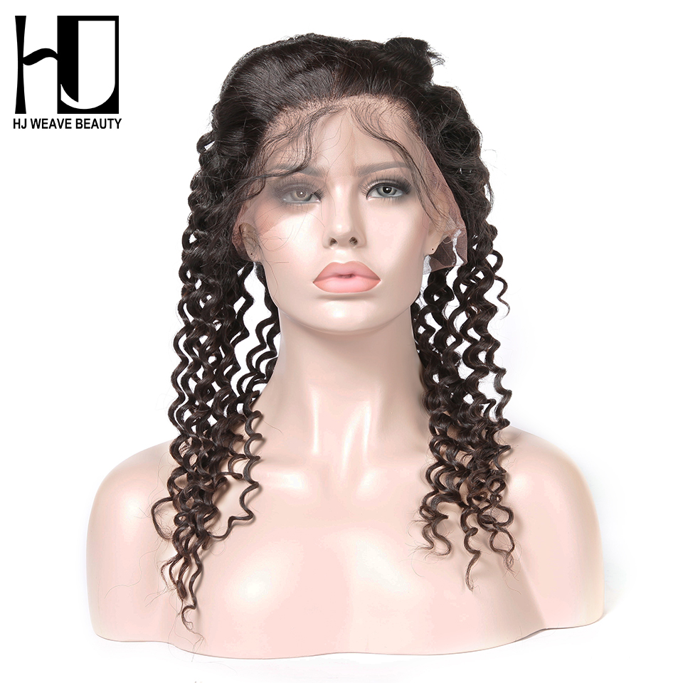HJ WEAVE BEAUTY 360 Lace Frontal Deep Wave 100 Human Hair Remy Hair Natural Hairline With