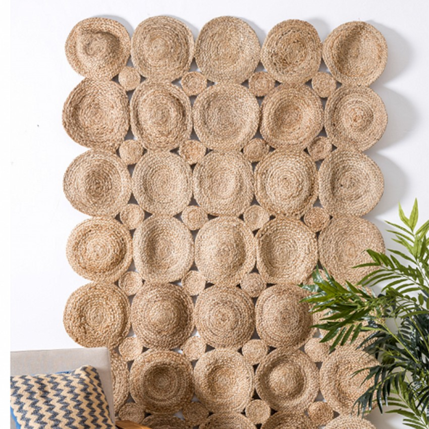 Tapis de salon fait main en Jute inde naturel, tapis de chevet de grande taille, tapis de bureau de décoration, tapis cool pour l'été