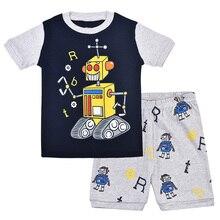 Summer Boys Pajamas Cartoon Robot Short-sleeved Sleepwear Set  Childrens Cotton Home Clothing