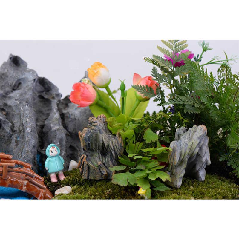 Figuras decorativas de Morro de pedra montanha mini animais do jardim de fadas estátua estatueta em miniatura micro Musgo paisagem enfeites de resina