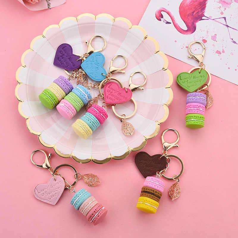 Nuevo llavero con forma de tarta de Macaron para mujer, llavero de hoja de aleación de PU love, colgantes de bolso de dijes, llavero, el mejor regalo de fiesta, joyería K3006