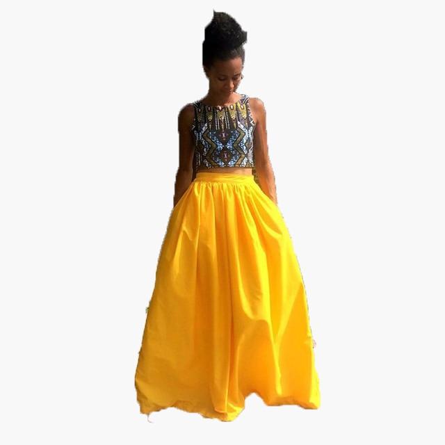 Fashion African Style Yellow Maxi Skirt Zipper Band Waist A Line Floor Length  Long Skirt Ball 67e30fa67