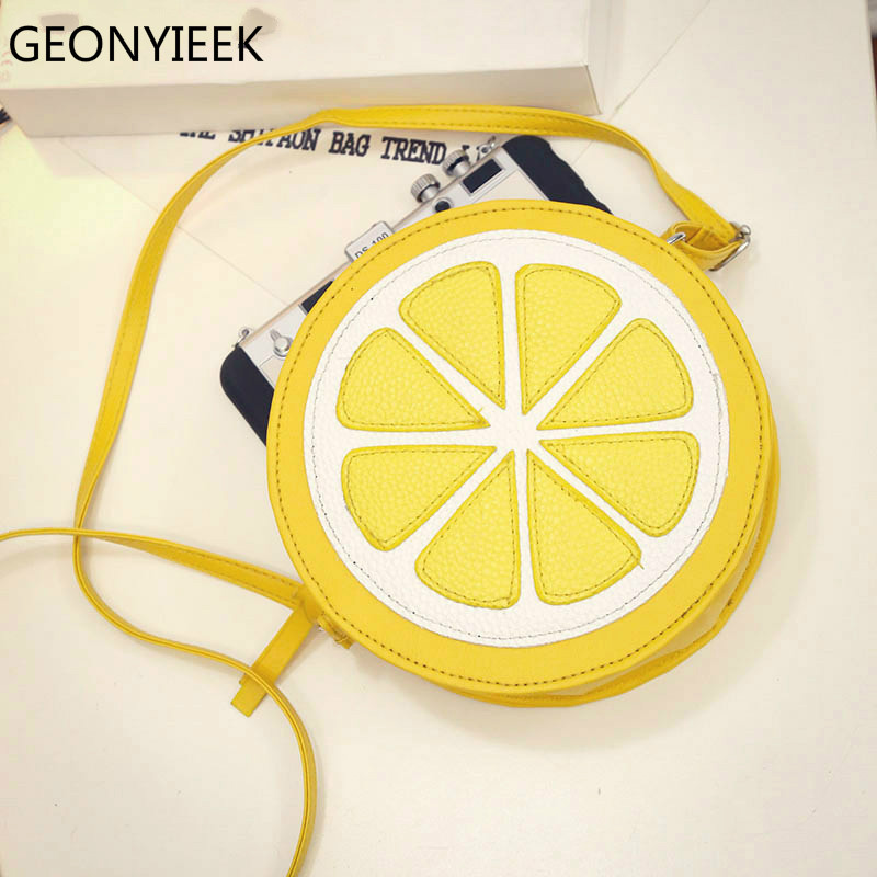 2019 Circular Orange Lemon Women Bag Zipper Messenger Bags Crossbody Waterproof Handbags Brand Designer Purse Lady Shoulder Bags