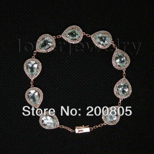 Pear 7x9mm Solid 14K Rose Gold Natural Diamond Amethyst Bracelet,Amethyst Bracelet Bangle For Sale цена