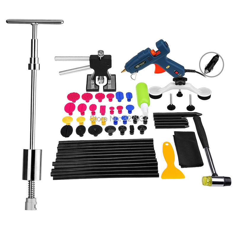 PDR Tools Kit Dent Removal Paintless Dent Repair Tools Dent Puller Slide Hammer Bridge Puller Dent Lifter Removal Tool Set spot welding sheet metal tools spotter tools with slide hammer 393pieces ss 393