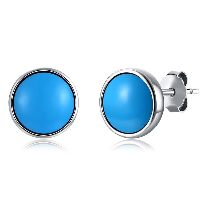 KIENMOLLOPHE կլոր փիրուզագույն 925 ստերլինգ - Նուրբ զարդեր - Լուսանկար 2
