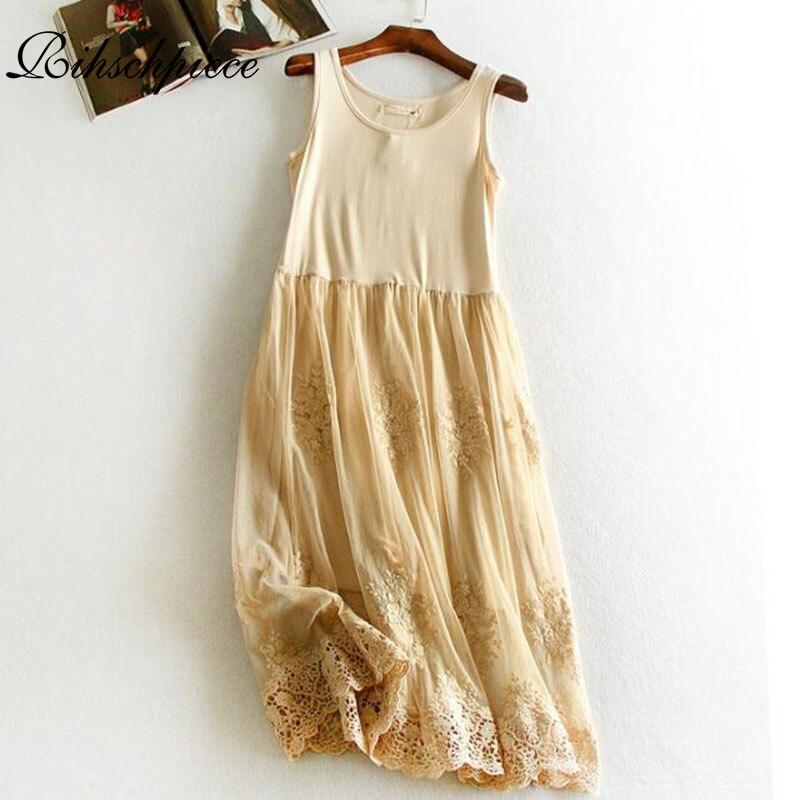 05041a2b37ac Rihschpiece Tunic Summer Gauze Dress Women Plus Size Maxi Dress Vintage  Modal Embroidery Sundress Beach Mesh
