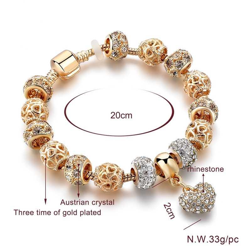 ATTRACTTO Heart Crystal Gold Bracelets Bangle For Women Stainless Steel Bracelet Charm Handmade Jewelry Bracelet Femme SBR190045