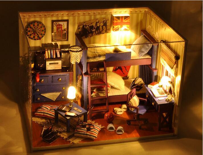 Diy houten poppenhuis kamer doos handgemaakte 3d miniatuur for Poppenhuis meisje