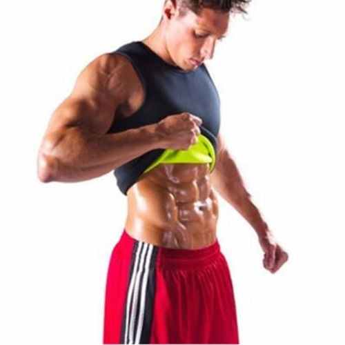 ITFABS Baru Pria Zipper Berjalan Ves Gym Neoprene Rompi Sauna Ultra Keringat T-Shirt Tubuh Shaper Pelangsing Tukang Kayu Ukuran S-3XL