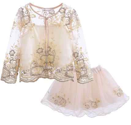 Cutestyles 2019 New Girl Clothing Set Beige Organza Spring Jacket  Embroidery Beaded Skirt For Kids Girl 56140a79180f