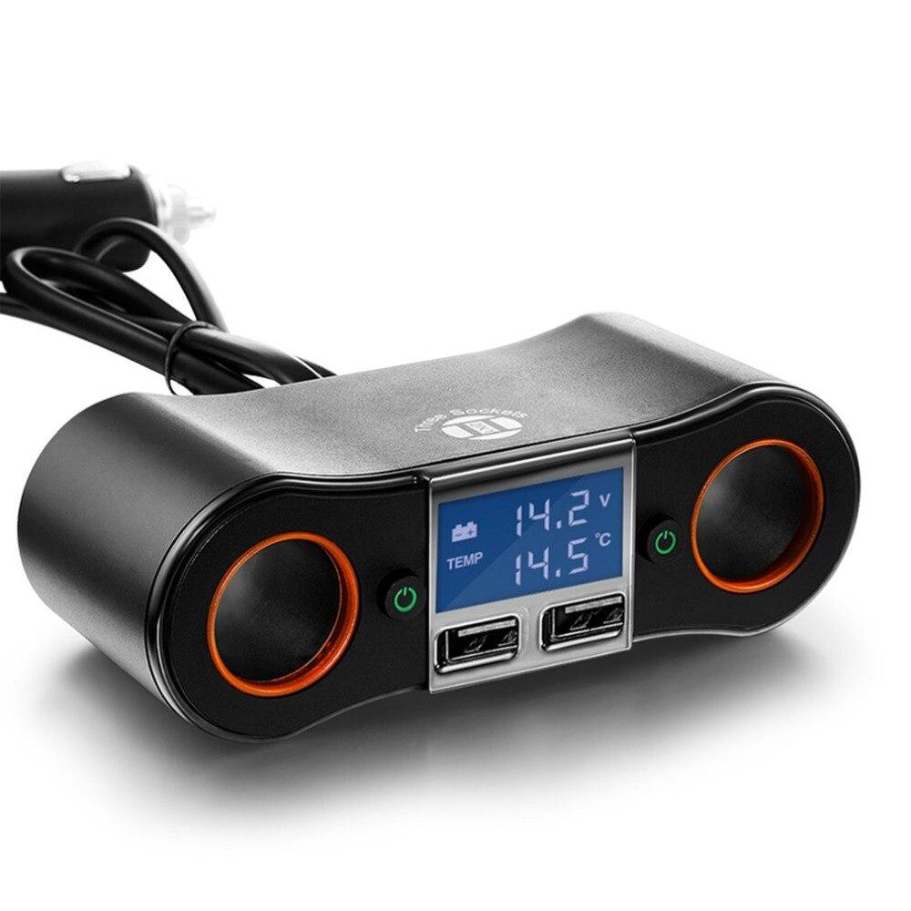 12V DC Car Cigarette Lighter Adapter 2 Way Double Plug Socket Dual USB LCD Car Charger Splitter Voltage Monitor
