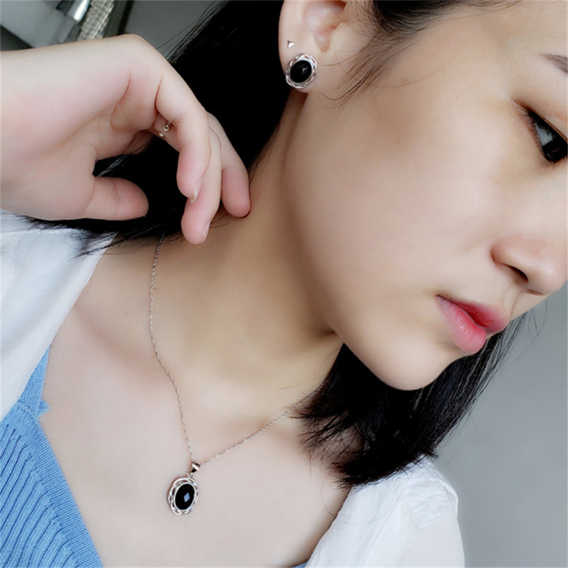 Vintage Natural Stone Women Jewelry Set 100 Genuine 925 Sterling Silver Blue Black Onyx Oval Earrings