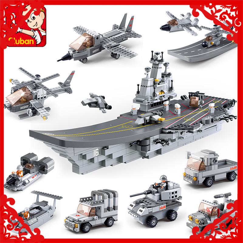 SLUBAN WC156 9 In 1 Bricks Building Block Compatible Legoe Star Wars Spaceship Aircraft Carrier   Toy Gifts For Children military star wars spaceship aircraft carrier helicopter tank war diy building blocks sets educational kids toys gifts legolieds