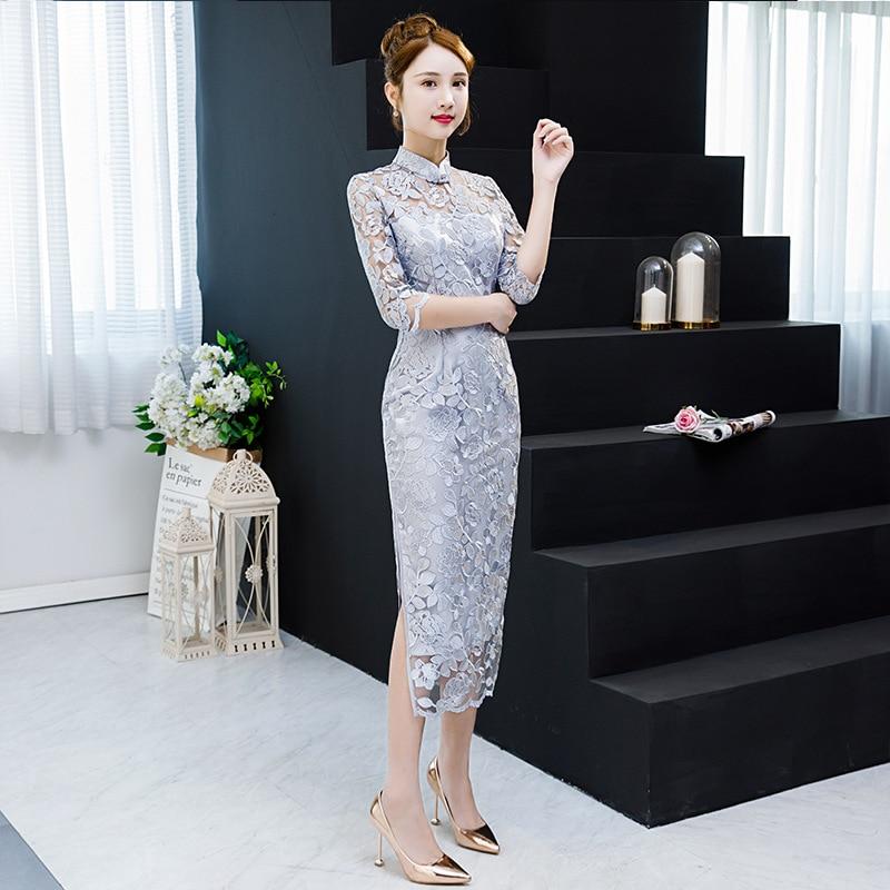 2019 longue Cheongsam Vintage chinois style Mandarin col robe femmes d'été Qipao Slim robes de soirée Vestido S-XXXL
