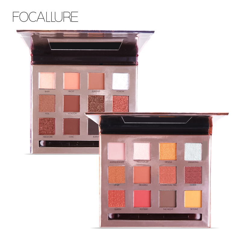 Focallure Shimmer Matte Eyeshadow 3D Nude Shiny Makeup Pigments 12 Colors Eye Shadow Palette With Make up Mirror&Brush Maquiagem focallure 10 colors eyeshadow palette waterproof cosmetic with 8 pcs makeup brush eye shadow brush blush brush maquiagem kit