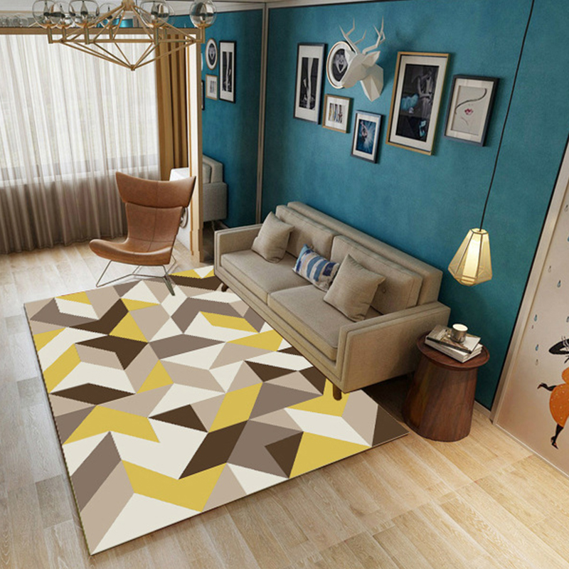 Washable Area Rugs Living Room: Geometric Large Carpets For Modern Living Room Anti Slip