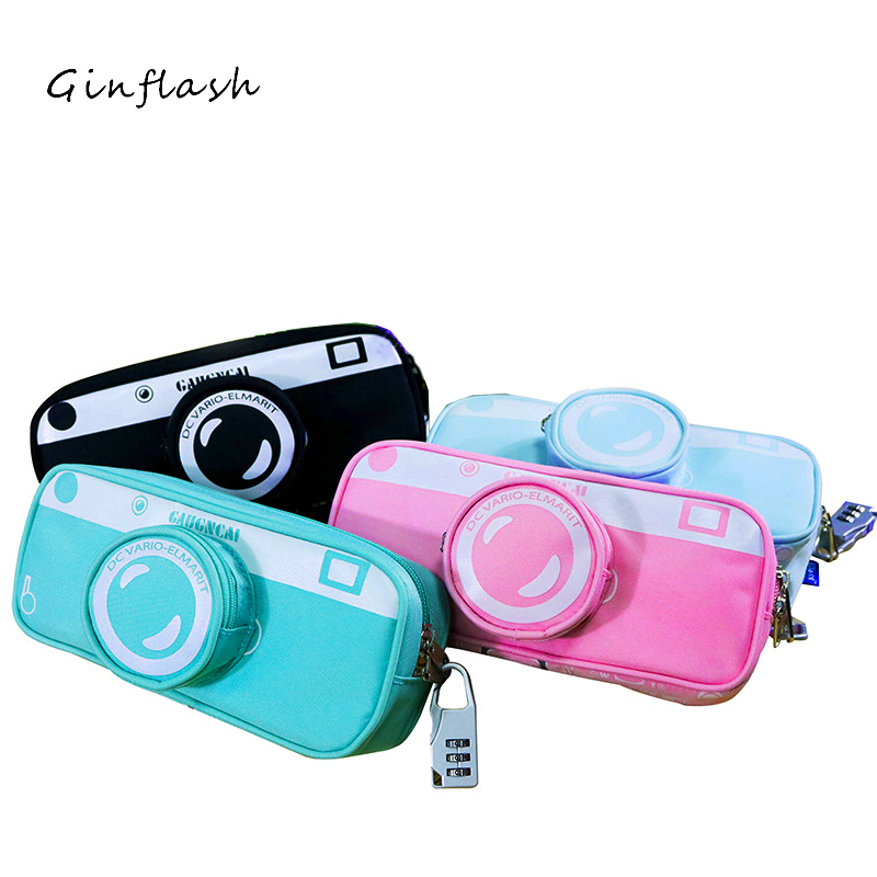 1pc Creative camera Pencil Case Canvas Pencil Bag Pen Box stationery school supplies Gift multilayer color random with lock big capacity high quality canvas shark double layers pen pencil holder makeup case bag for school student with combination coded lock