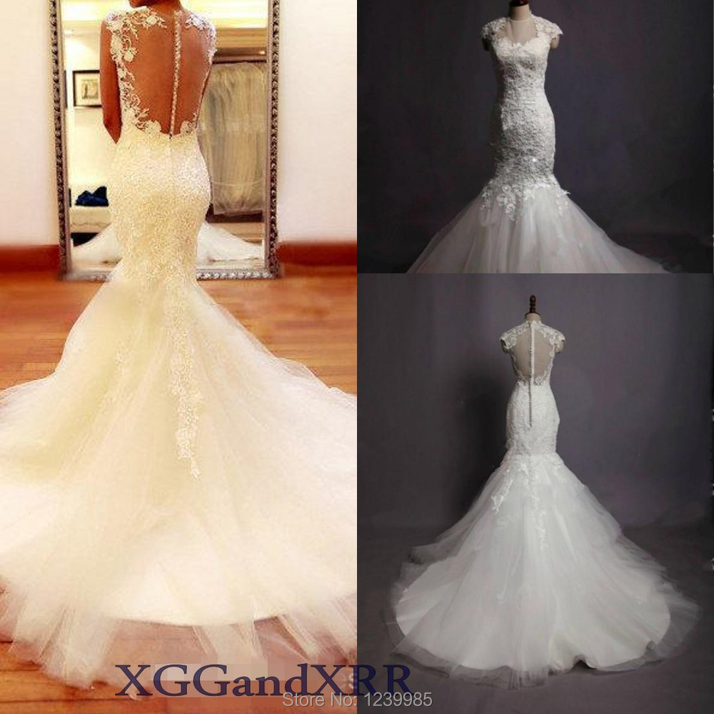 Real sample wedding dress high neck charming applique mermaid wedding